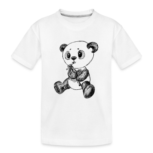 Panda bjørn sort scribblesirii - Teenager premium T-shirt økologisk