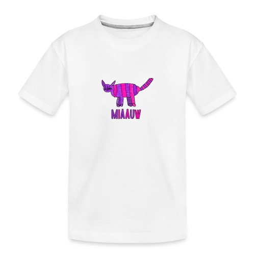 miaauw, paarse poes - Teenager premium biologisch T-shirt