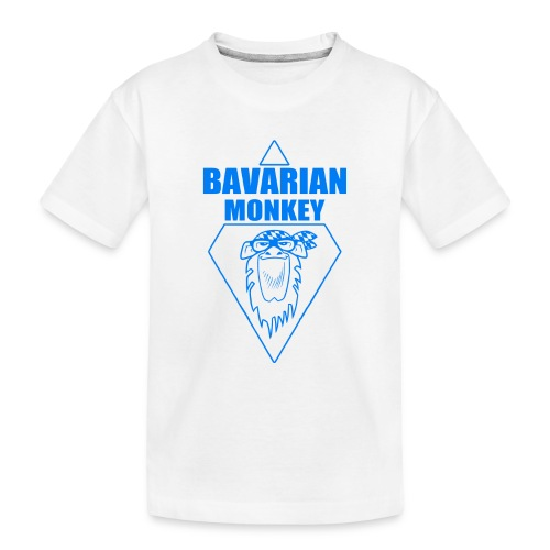 Bavarian Monkey Label blau - Teenager Premium Bio T-Shirt