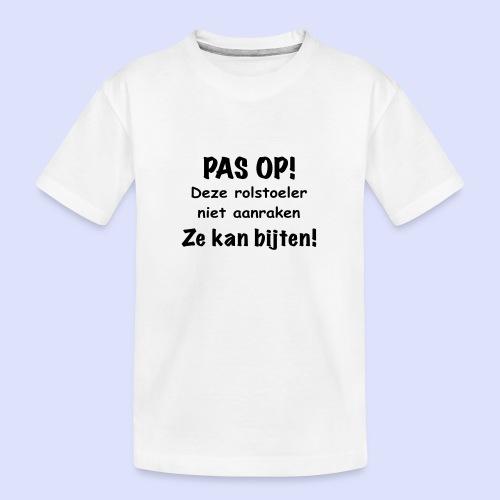Pas op rolstoel gebruiker kan bijten - Teenager premium biologisch T-shirt