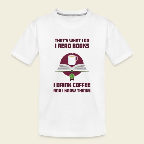 Buch und Kaffee, dunkel - Teenager Premium Bio T-Shirt