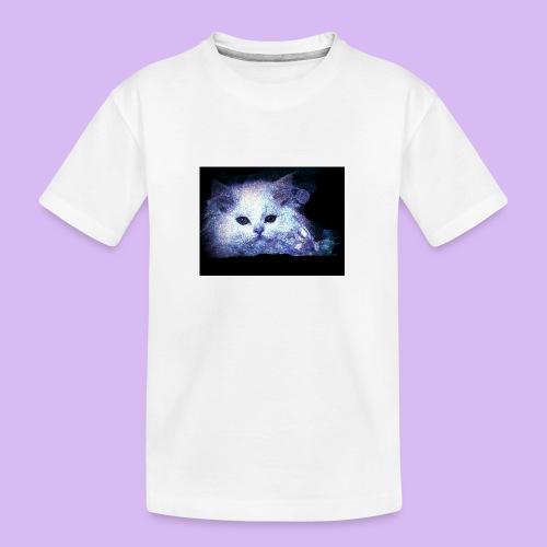 Gatto bianco glitter - Maglietta ecologica premium per ragazzi