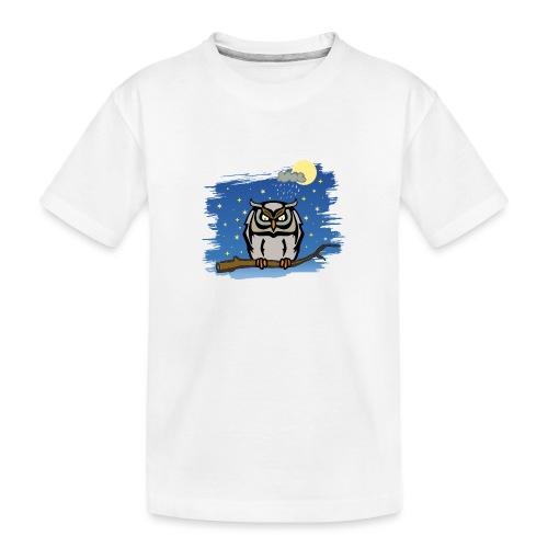 Eule Uhu Nachtschwärmer Vollmond Regenwolke Sterne - Teenager Premium Bio T-Shirt