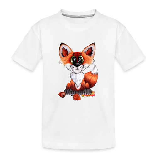 llwynogyn - a little red fox - Teenager premium T-shirt økologisk