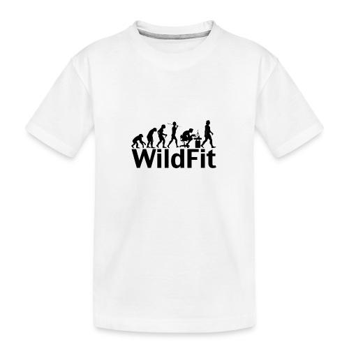 WildFit Logo Evolution in Schwarz - Teenager Premium Bio T-Shirt