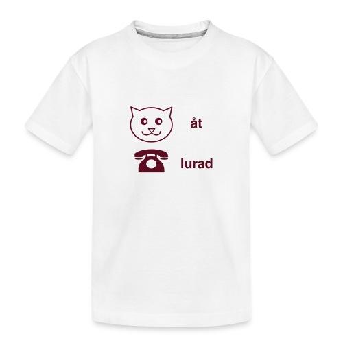 Katt åt telefon - Ekologisk premium-T-shirt tonåring
