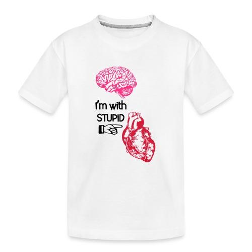 I'm with stupid (brain & heart) - Maglietta ecologica premium per ragazzi