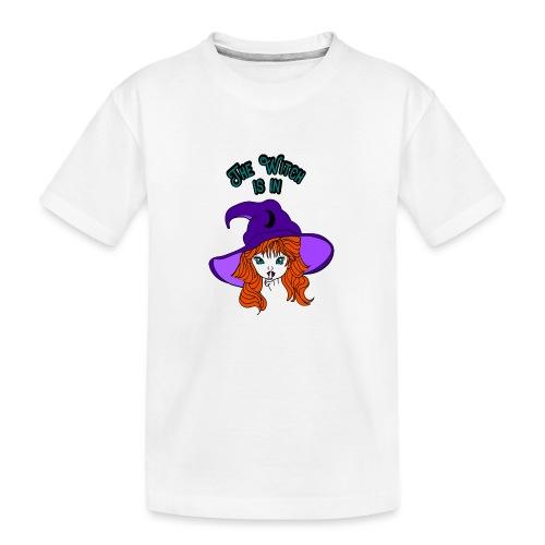 Ondeugende heks met heksen hoed - Teenager premium biologisch T-shirt