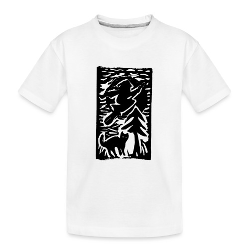 Hexe mit Katze - Teenager Premium Bio T-Shirt