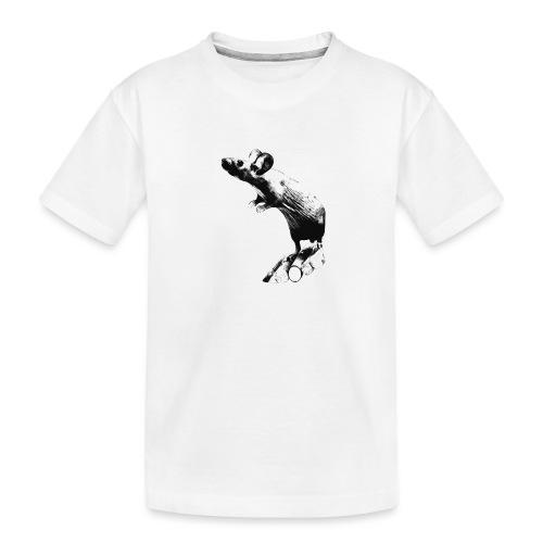 Seisova nakuhiiri - mustavalko - Teinien premium luomu-t-paita
