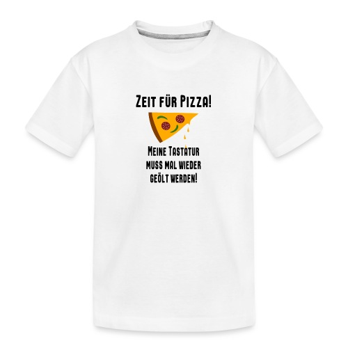 Pizza Essen Tastatur Computer Freak Nerd Spruch - Teenager Premium Bio T-Shirt