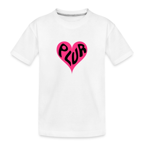 PLUR - Peace Love Unity and Respect love heart - Teenager Premium Organic T-Shirt