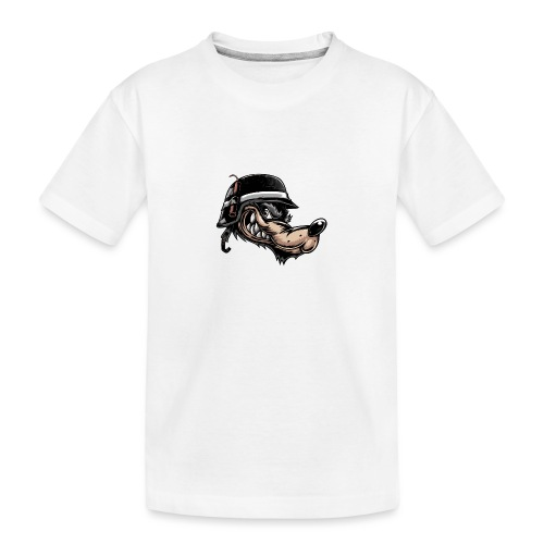 Wolf mit Helm - Teenager Premium Bio T-Shirt
