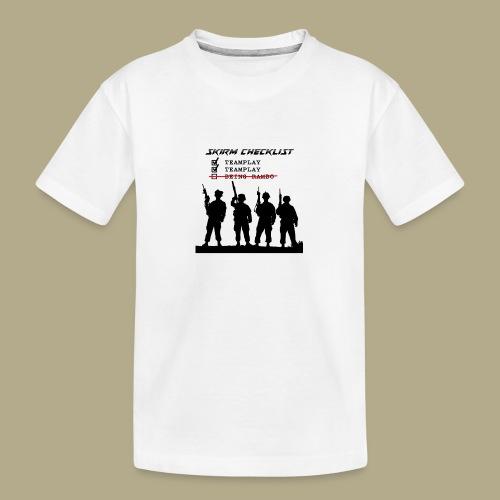 Skirm Checklist - Teenager premium biologisch T-shirt