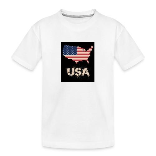 USA FLAG 4th of July With Flag - Ekologisk premium-T-shirt tonåring