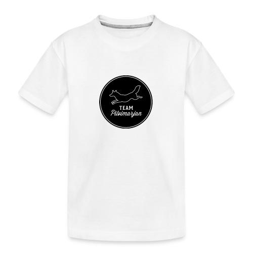 pilvimarjanlogomustaa - Teinien premium luomu-t-paita