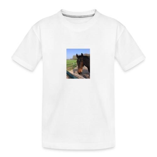 Met bruin paard bedrukt - Teenager premium biologisch T-shirt
