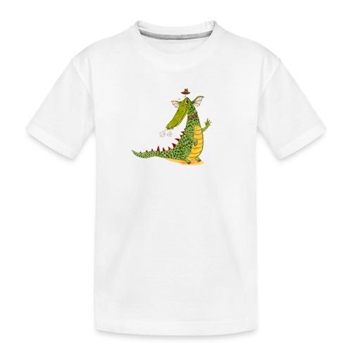 Drachenkrokodil mit schwarzem Logo - KlingBim - Teenager Premium Bio T-Shirt