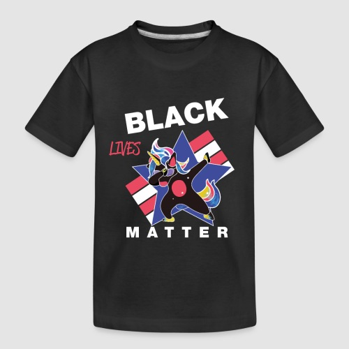 Dabbendes schwarzes Einhorn - Teenager Premium Bio T-Shirt