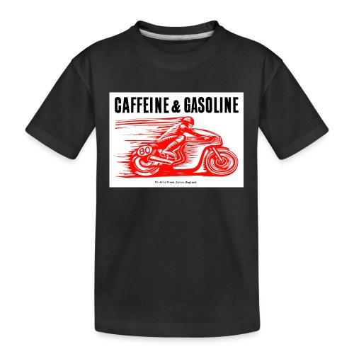 Caffeine & Gasoline black text - Teenager Premium Organic T-Shirt