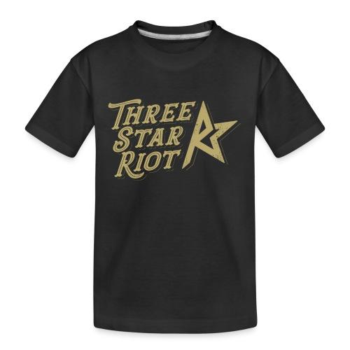 Three Star Riot logo väri - Teinien premium luomu-t-paita