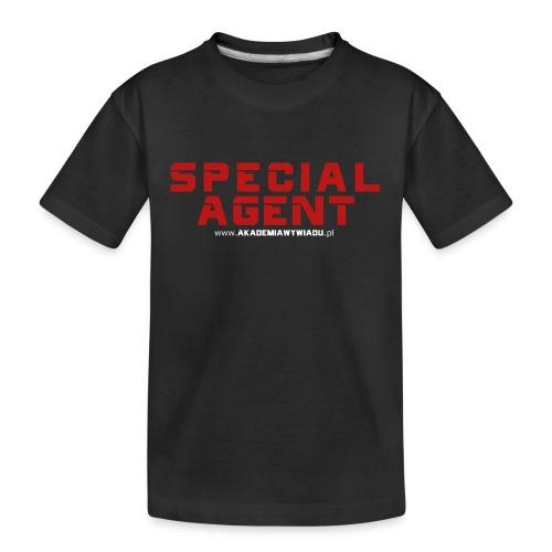 Emblemat Special Agent marki Akademia Wywiadu™ - Ekologiczna koszulka młodzieżowa Premium