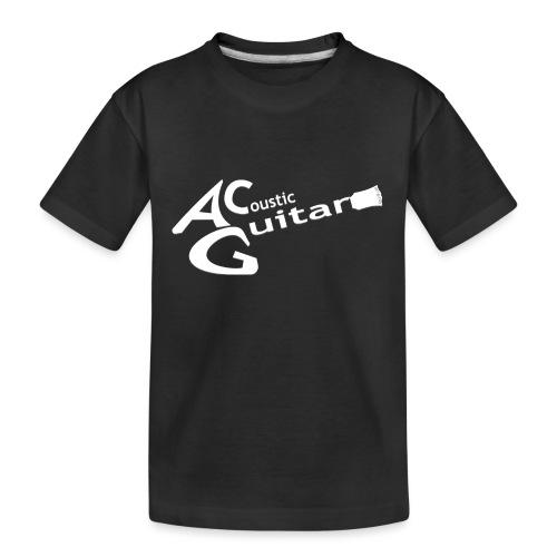 Acoustic Guitar Logo - White - Teenager Premium Organic T-Shirt