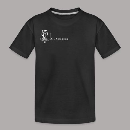 Zirkel mit Name, weiss (vorne) - Teenager Premium Bio T-Shirt