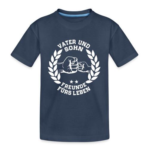 Vater und Sohn Freunde fürs Leben - Lorbeerkranz - Teenager Premium Bio T-Shirt
