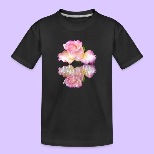 pinke Rose mit Regentropfen im Spiegel, rosa Rosen - Teenager Premium Bio T-Shirt
