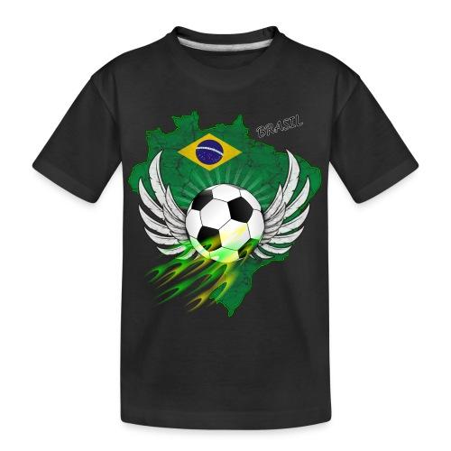 Fußball mit Brasilien Flage - Teenager Premium Bio T-Shirt