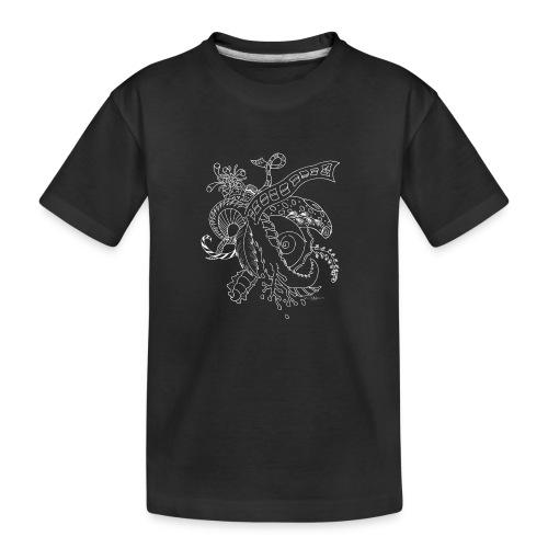 Fantasia valkoinen scribblesirii - Teinien premium luomu-t-paita