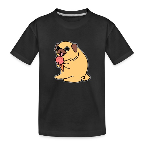 Mops mit Eis - Teenager Premium Bio T-Shirt