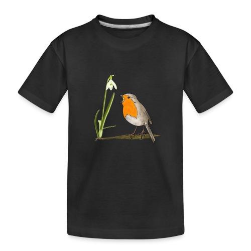 Frühling, Rotkehlchen, Schneeglöckchen - Teenager Premium Bio T-Shirt