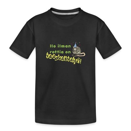 Ilo ilman rottia - kuvallinen - Teinien premium luomu-t-paita