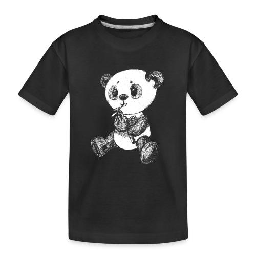 Panda Karhu valkoinen scribblesirii - Teinien premium luomu-t-paita
