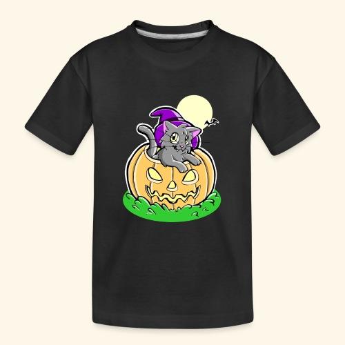 kürbiskatze.PNG - Teenager Premium Bio T-Shirt