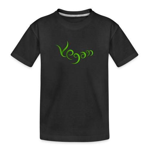 Vegaani käsinkirjoitettu design - Teinien premium luomu-t-paita