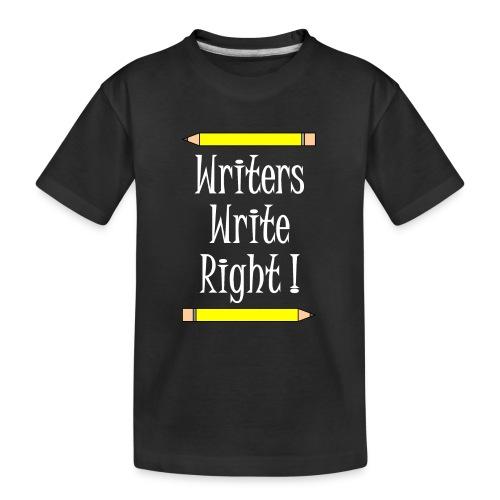 Writers Write Right White Text - Teenager Premium Organic T-Shirt