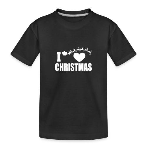 I Love Christmas Heart Natale - Maglietta ecologica premium per ragazzi