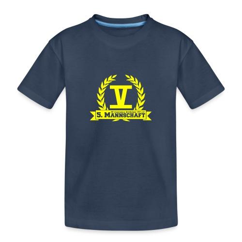 V mit College-Schriftzug - Gelb - Teenager Premium Bio T-Shirt