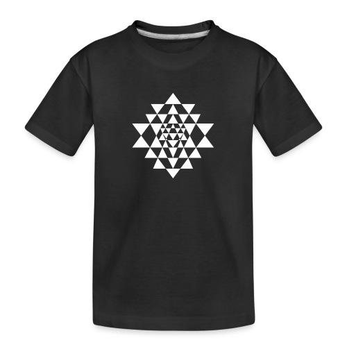 Valkoinen Shri Yantra -kuvio - Teinien premium luomu-t-paita