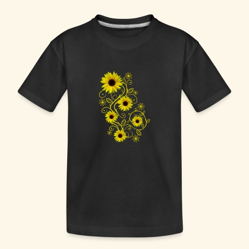 gelbe Sonnenblumen, Ornamente, Sonnenblume, Blumen - Teenager Premium Bio T-Shirt