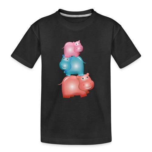 Tierturm aus drei Hippos - Teenager Premium Bio T-Shirt
