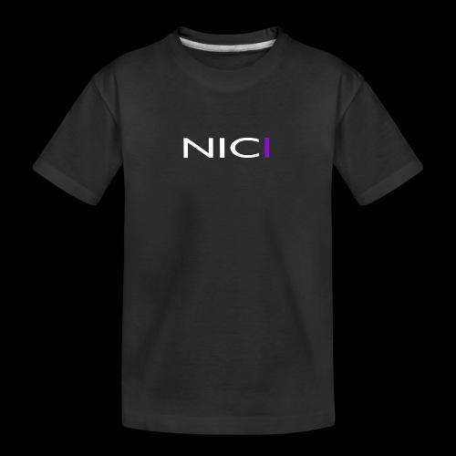NICI logo WHITE - Teinien premium luomu-t-paita