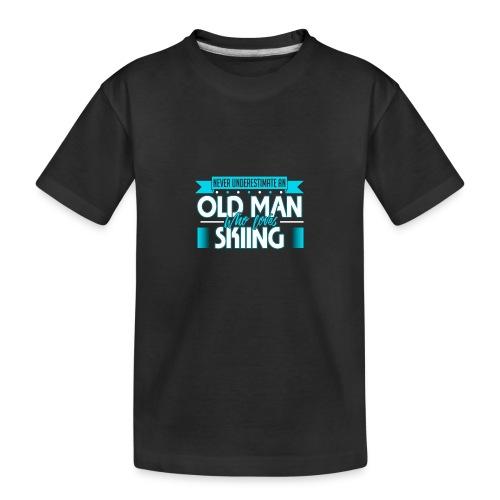Unterschätze nie einen alten Mann der Skifahren li - Teenager Premium Bio T-Shirt