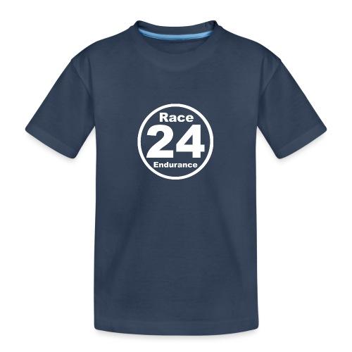 Race24 round logo white - Teenager Premium Organic T-Shirt
