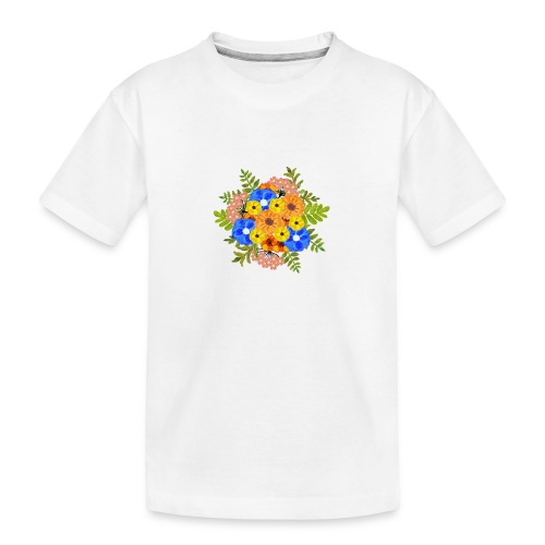 Blue Flower Arragement - Teenager Premium Organic T-Shirt