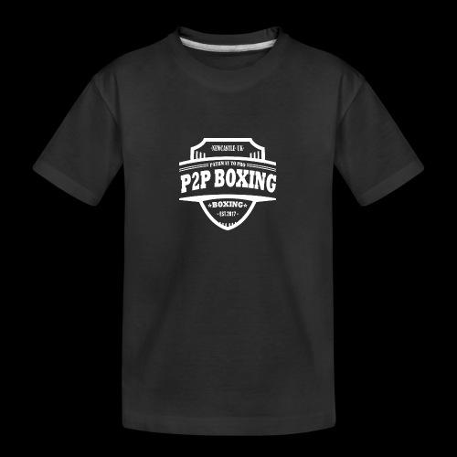 P2P Boxing White Logo - Teenager Premium Organic T-Shirt