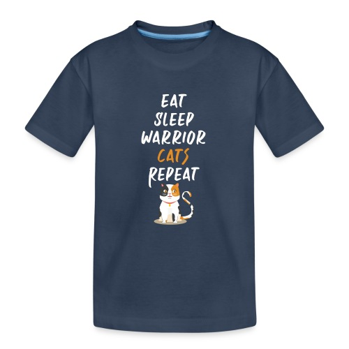 Eat sleep warrior cats repeat - T-shirt bio Premium Ado